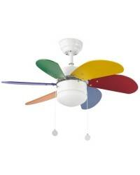 Ventilador de techo con luz modelo PALAO MULTICOLOR Infantil