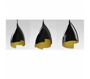 Lámparas Colgantes TULIP Negro Brillante/Dorado.