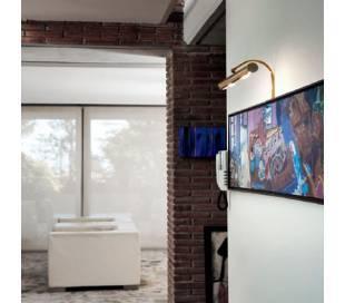 Aplique de Latón-Acero APLIQUES Niquel Mate ambiente de pared E-14 difusor 300mm.