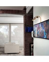 Aplique de Latón-Acero APLIQUES Niquel Mate ambiente de pared E-14 difusor 400mm.