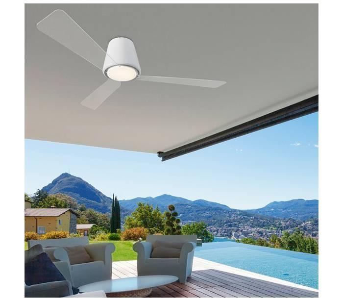 Ventiladores de techo con luz leds c4 garb blanco led - Luz de techo ...