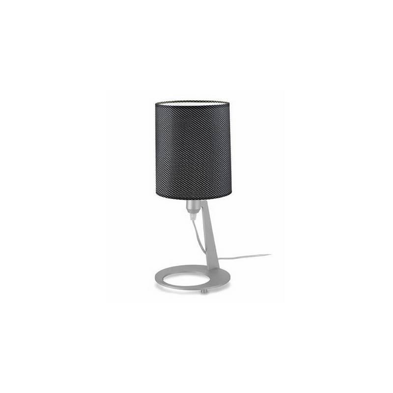 Lámpara de Sobremesa Aluminio - Niquel Mate -.Difusor Tela  -2x E27 PL 15W Máx. 220V