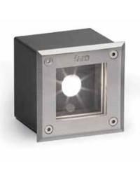 Aplique empotrable de  Acero y Aluminio Inyectado LED-18 para Exterior Cuadrado Color Niquel Mate LED