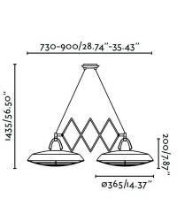 Lámpara Colgante Extensible doble LED Faro PLEC Marrón envejecido