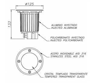 Lámpara Empotrable LED 9W Leds C4 GEA 3000K AISI 316 Circular Ø12,5 cm