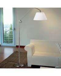 Lámpara de Pie de Salon de Laton/Acero - Niquel Mate  - 1 E-27 60W MAX. 220V
