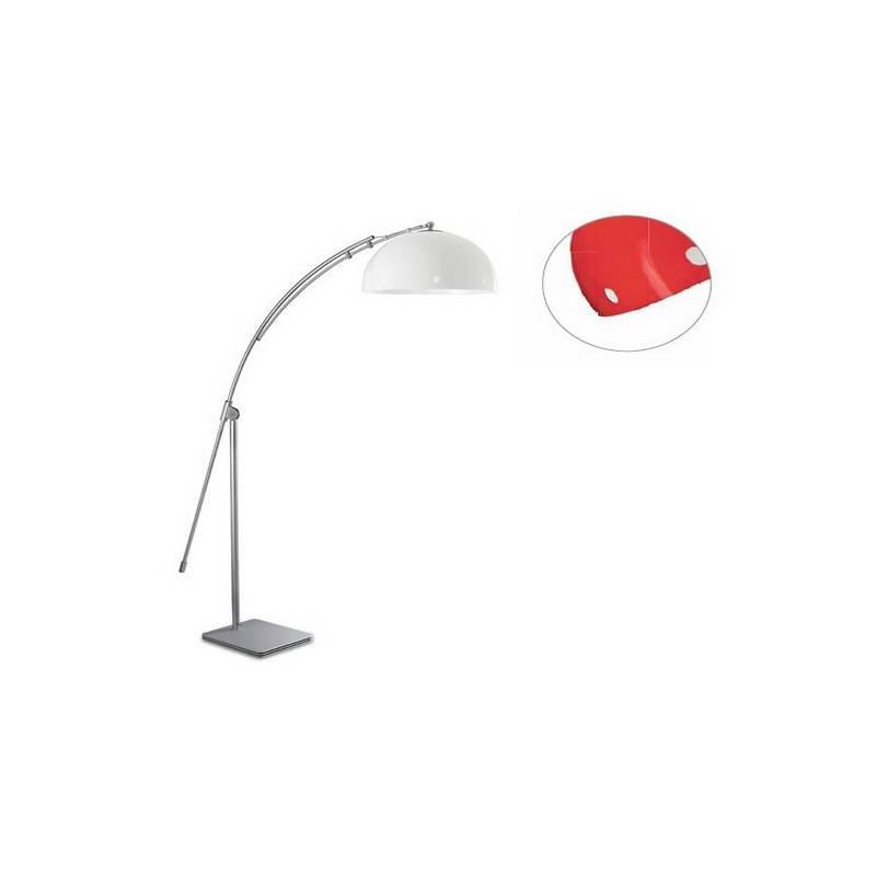 Lámpara de Pie de Salón Plata Color Rojo de Acero  - 1 E-27  60W MAX. 220V