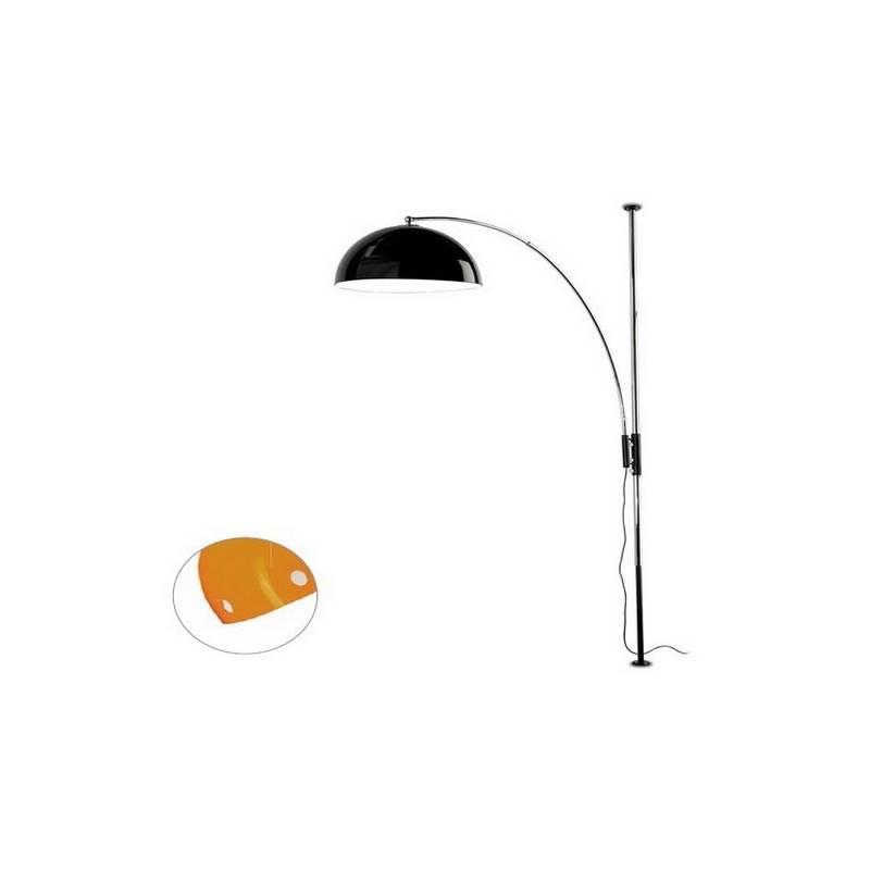 Lámpara de Pie de Salón Niquel Mate Color Naranja de Acero  - 1 E-27  60W MAX. 220V