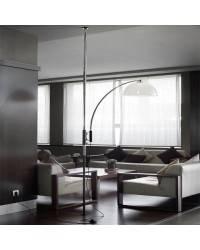 Lámpara de Pie de Salón Niquel Mate Color Blanco de Acero  - 1 E-27  60W MAX. 220V
