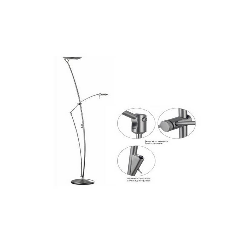 Lámpara de Pie de Salón Acero Niquel Mate  - 1 R7s 118mm 300W Máx. 1x G6.35 50W Máx. 220V