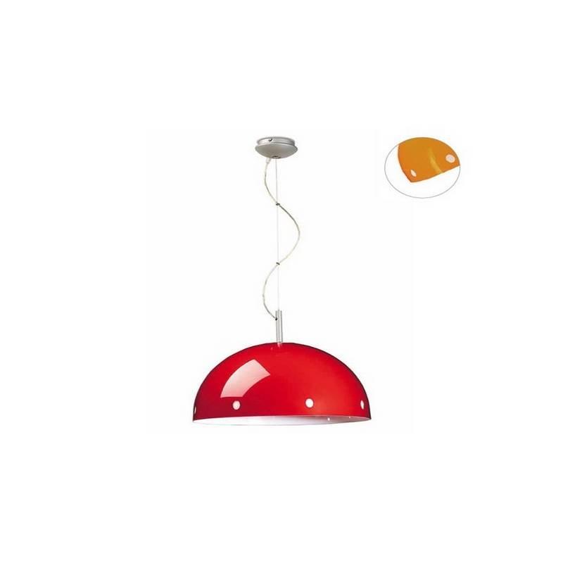 Lámpara Colgante Acero Plata Naranja - 1 x E-27 60W Máx.
