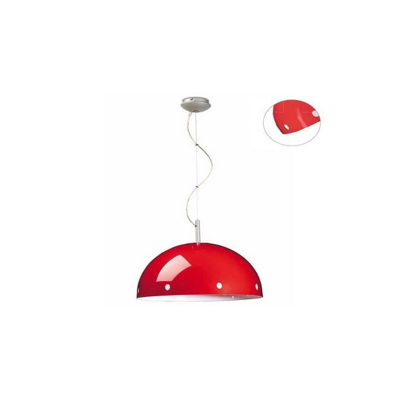 Lámpara Colgante Acero Plata Rojo - 1 x E-27 60W Máx.