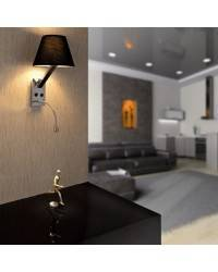 Aplique de metal MOMA-1 Interior Negro para pared E27