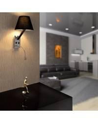 Aplique de metal MOMA-2 Interior Negro para pared E27 y 1 led 1W