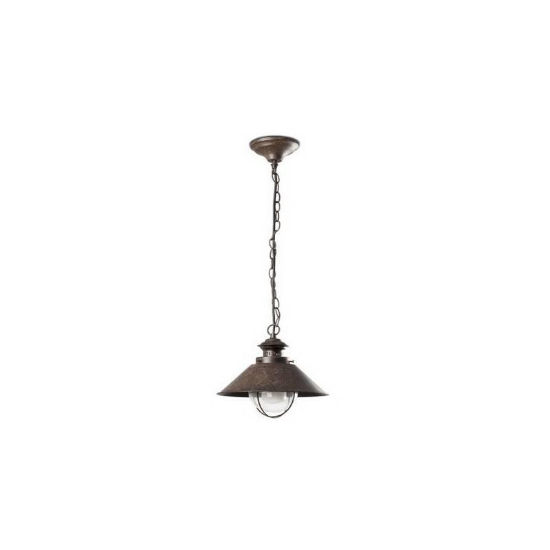 Lámpara Colgante de Hierro NAUTICA-1P Pequeño para Exterior color Marrón Óxido para techo E27