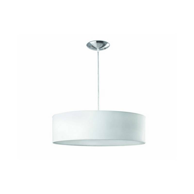 Lámpara colgante 50 cms. 3 luces de Metal-PVC-Textil SEVEN para Interior Blanco E27
