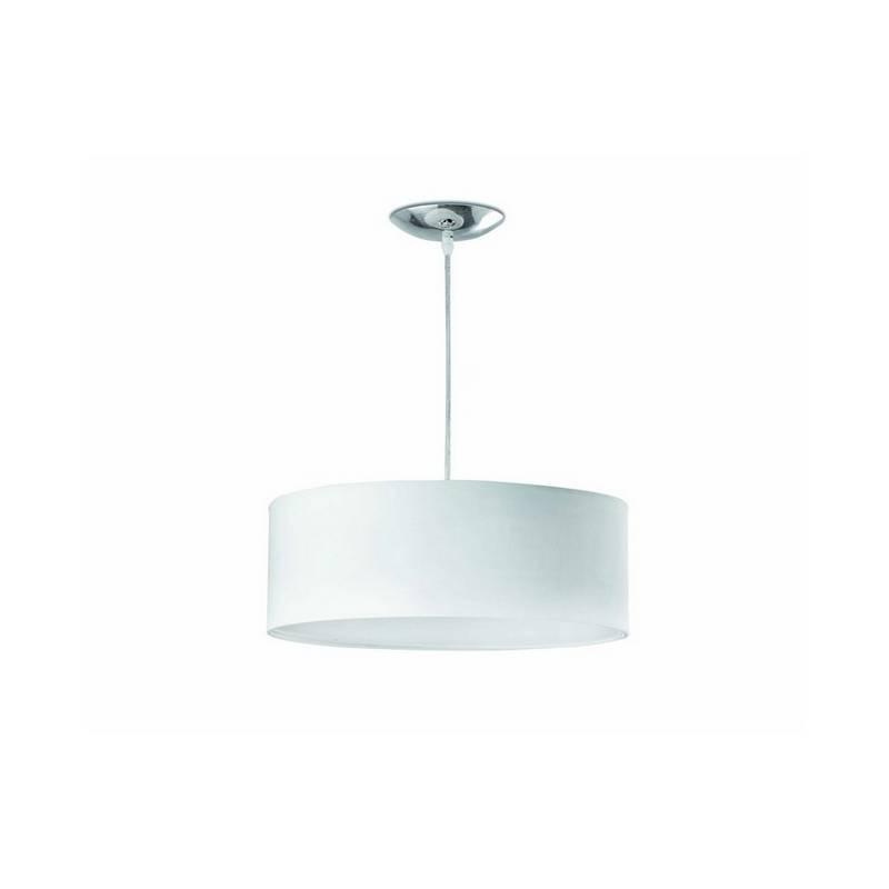 Lámpara colgante 40 cms. 2 luces de Metal-PVC-Textil SEVEN para Interior Blanco E27