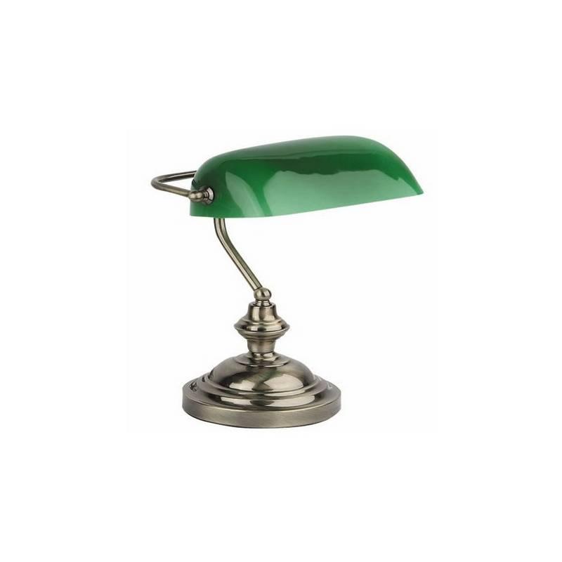 Lámpara sobremesa Metal y Cristal BANKER-2  para Interior Oro envejecido E27