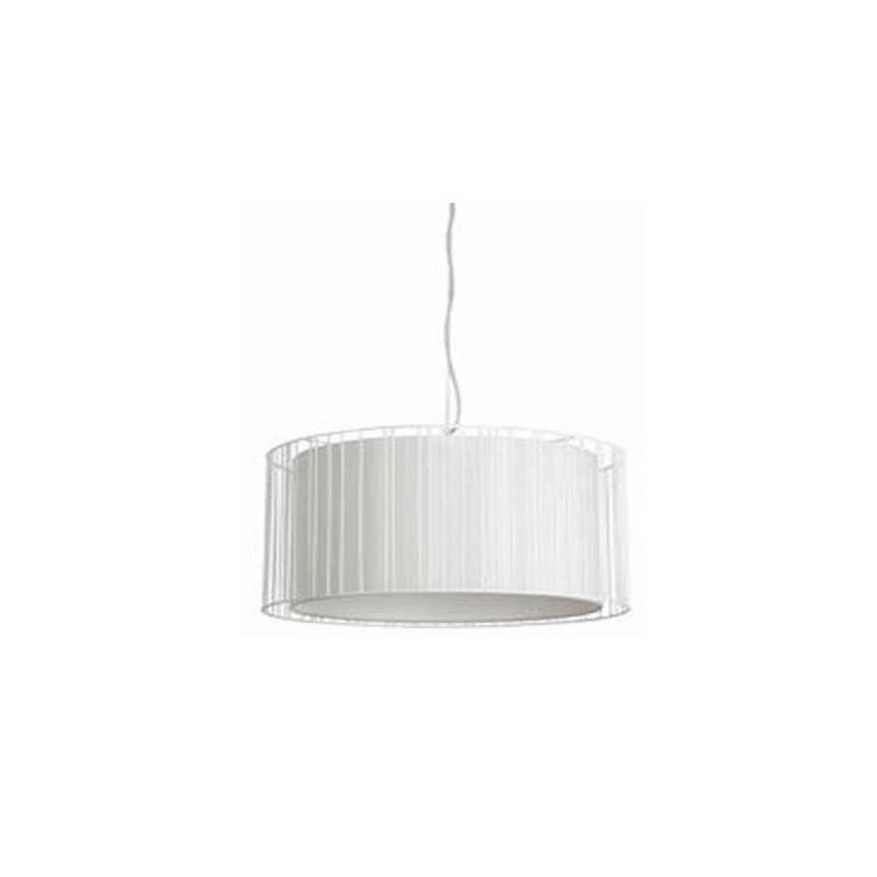 Lámpara colgante techo Acero-Textil LINDA para Interior Blanco 1L E27
