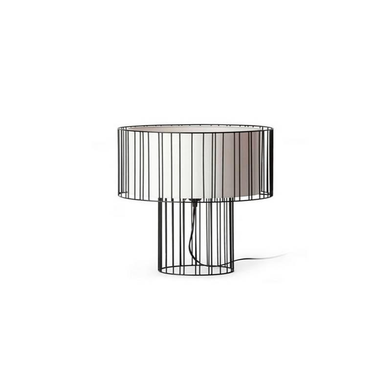 Lámpara sobremesa Acero-Textil LINDA para Interior Negro 1L E27