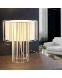 Lámpara sobremesa Acero-Textil LINDA para Interior Blanco 1L E27