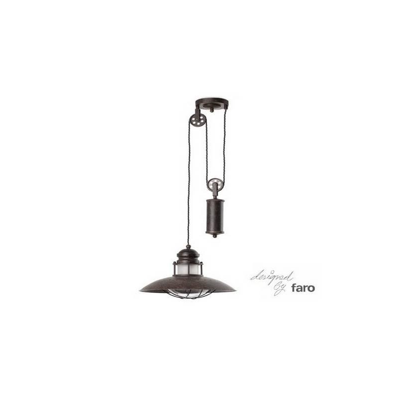 Lámpara colgante de techo con poleas de Metal-Cistal WINCH para Interior Marrón E27