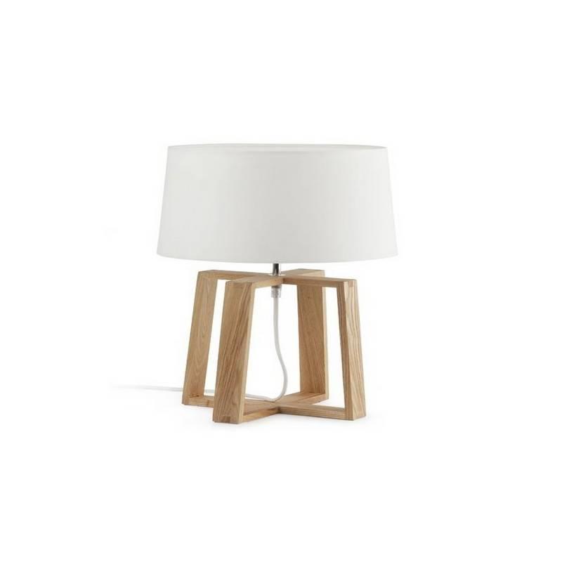 Lámpara sobremesa de Metal-Madera BLISS para interior Marrón-Blanco E27