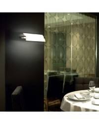Aplique de latón-acero PRISMA Niquel Mate ambiente halógeno de pared