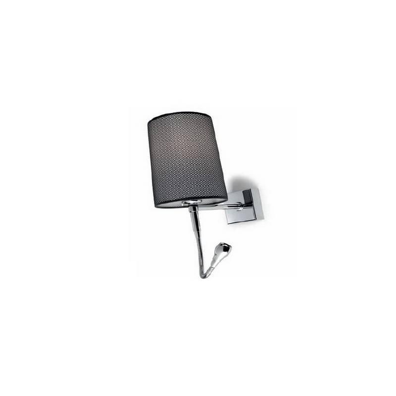 Aplique de acero BASIC Cromo ambiente bajo consumo de pared con foco de lectura