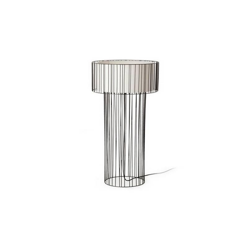 Lámpara pie de salón Acero-Textil LINDA para Interior Negro 1L E27
