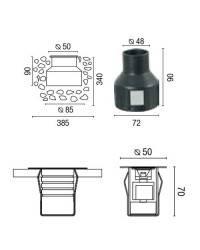 Aplique de Acero inoxidable 304 para empotrar exterior CROSBY Luz Fria Niquel Mate High Power LED
