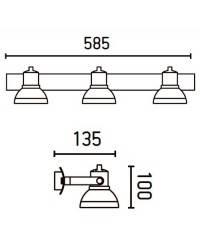 Aplique FARO RING LED Gris Oscuro 3 focos