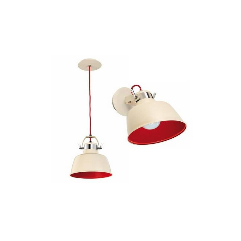Lámpara Colgante/Aplique VINTAGE Blanco Antiguo/Rojo